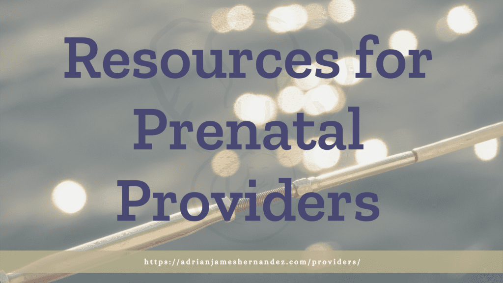 Title: Resources for Prenatal Providers | overlaid on image of water of Lake Tahoe at sunset