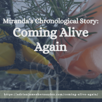Title: Miranda's Chronological Story: Coming Alive Again | overlaid on image of offerings placed in a tree at Whiteshell Park in Manitoba (Miranda Hernandez)