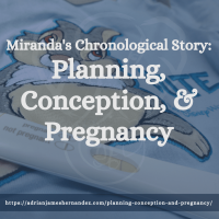 Title: Miranda's Chronological Story: Planning, Conception, & Pregnancy | overlaid on image of Adrian's onesie and Miranda's positive pregnancy test (Miranda Hernandez)