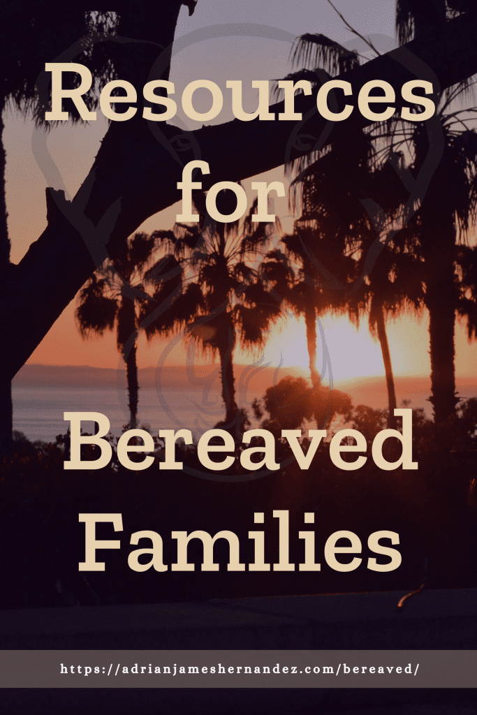 Title: Resources for Bereaved Families | overlaid on image of sunset on the California coast (Miranda Hernandez)